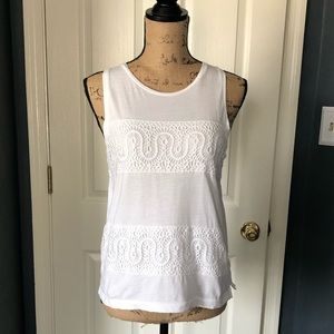 White J.Crew knit sleeveless top with crochet trim